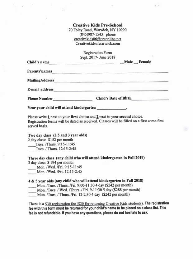2017 Creative Kids Registration Form